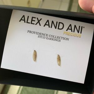 NWT Alex and Ani feather earrings